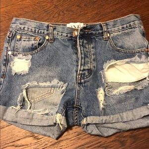 One Teaspoon Ripped Denim Shorts